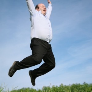 man jumping grass